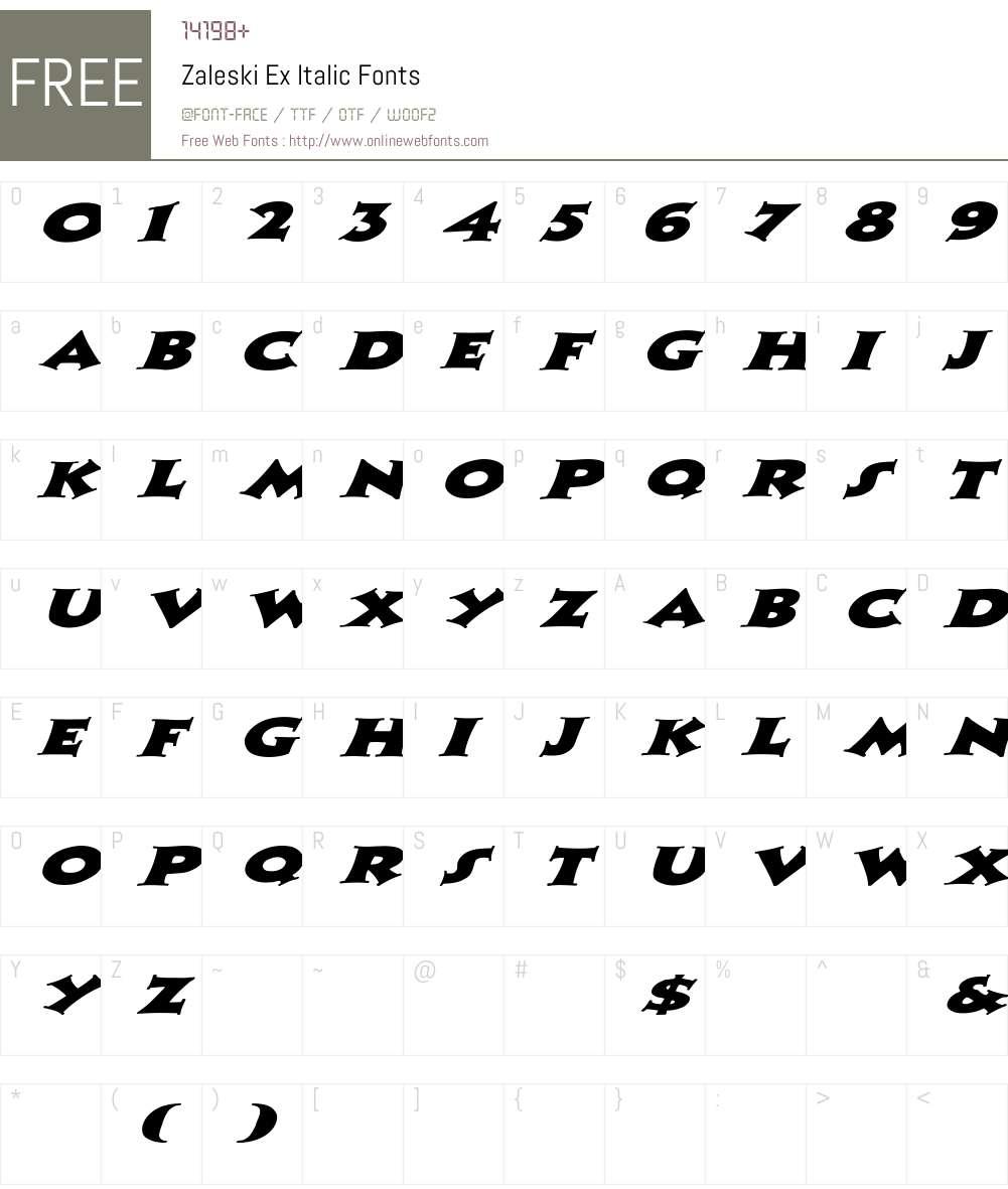 Zaleski Ex italic Font Screenshots