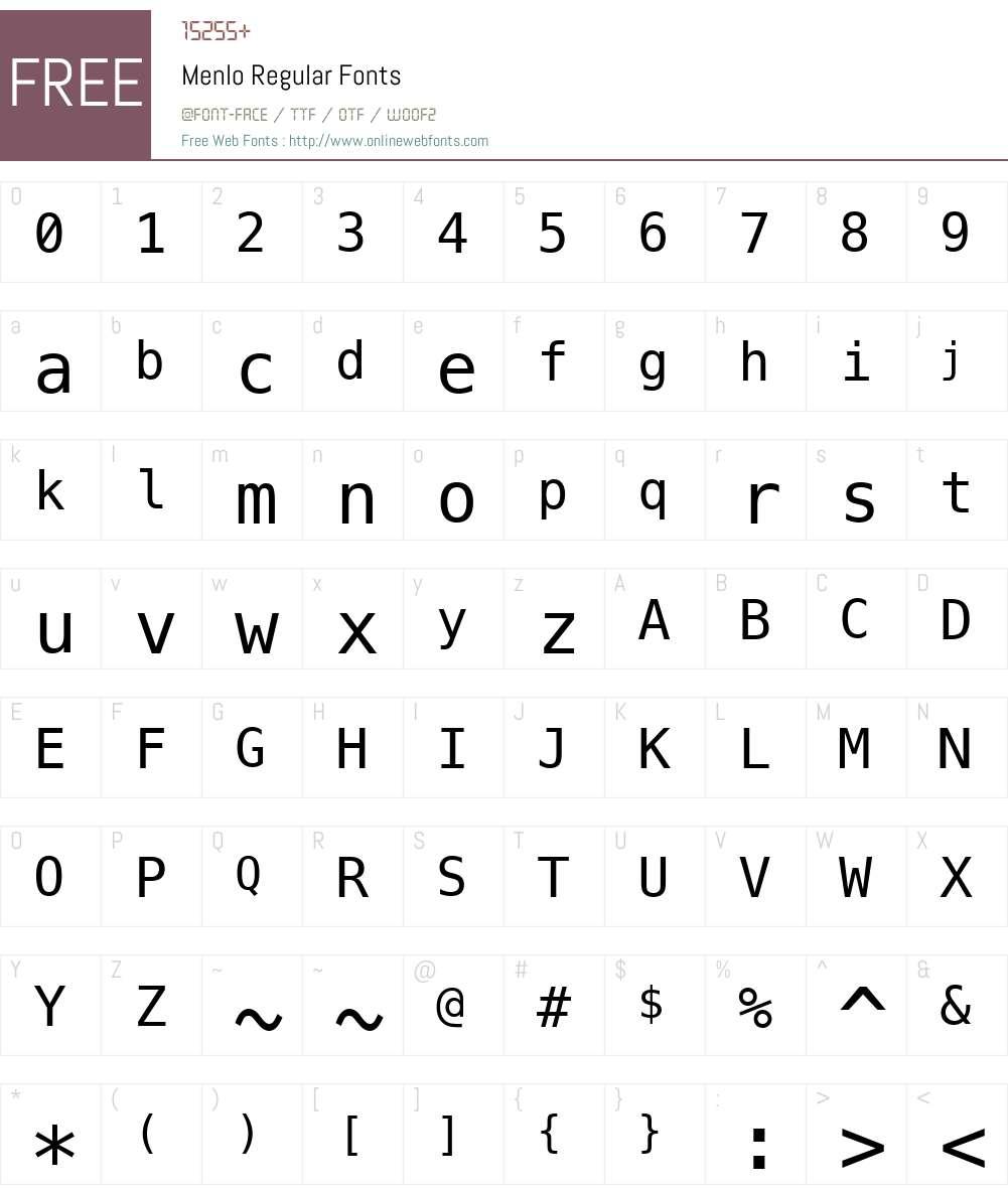 Menlo Font Screenshots