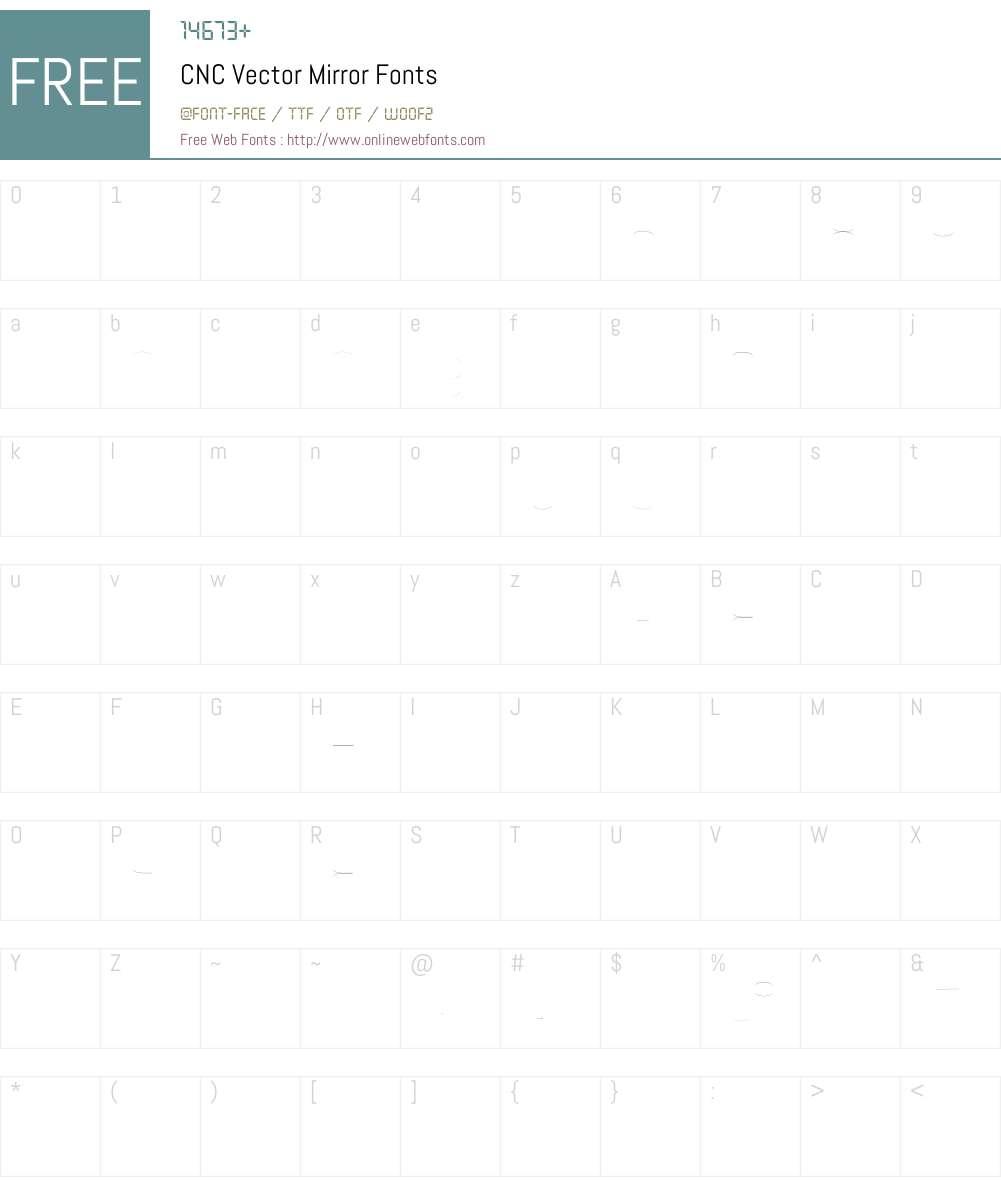 CNC Vector Mirror Font Screenshots