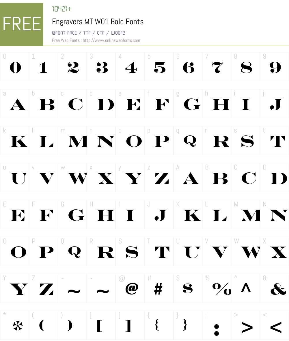 EngraversMTW01-Bold Font Screenshots