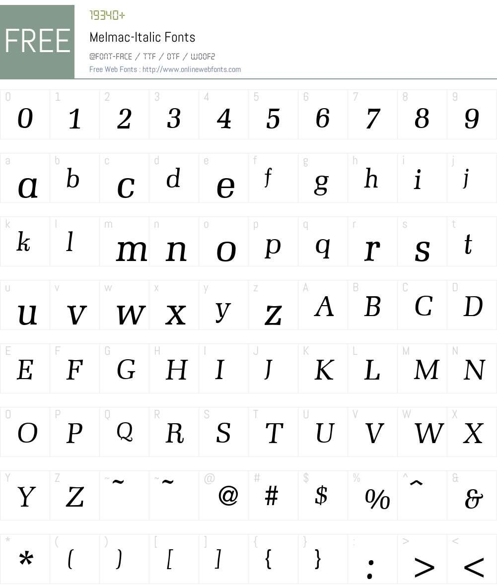 Melmac Font Screenshots