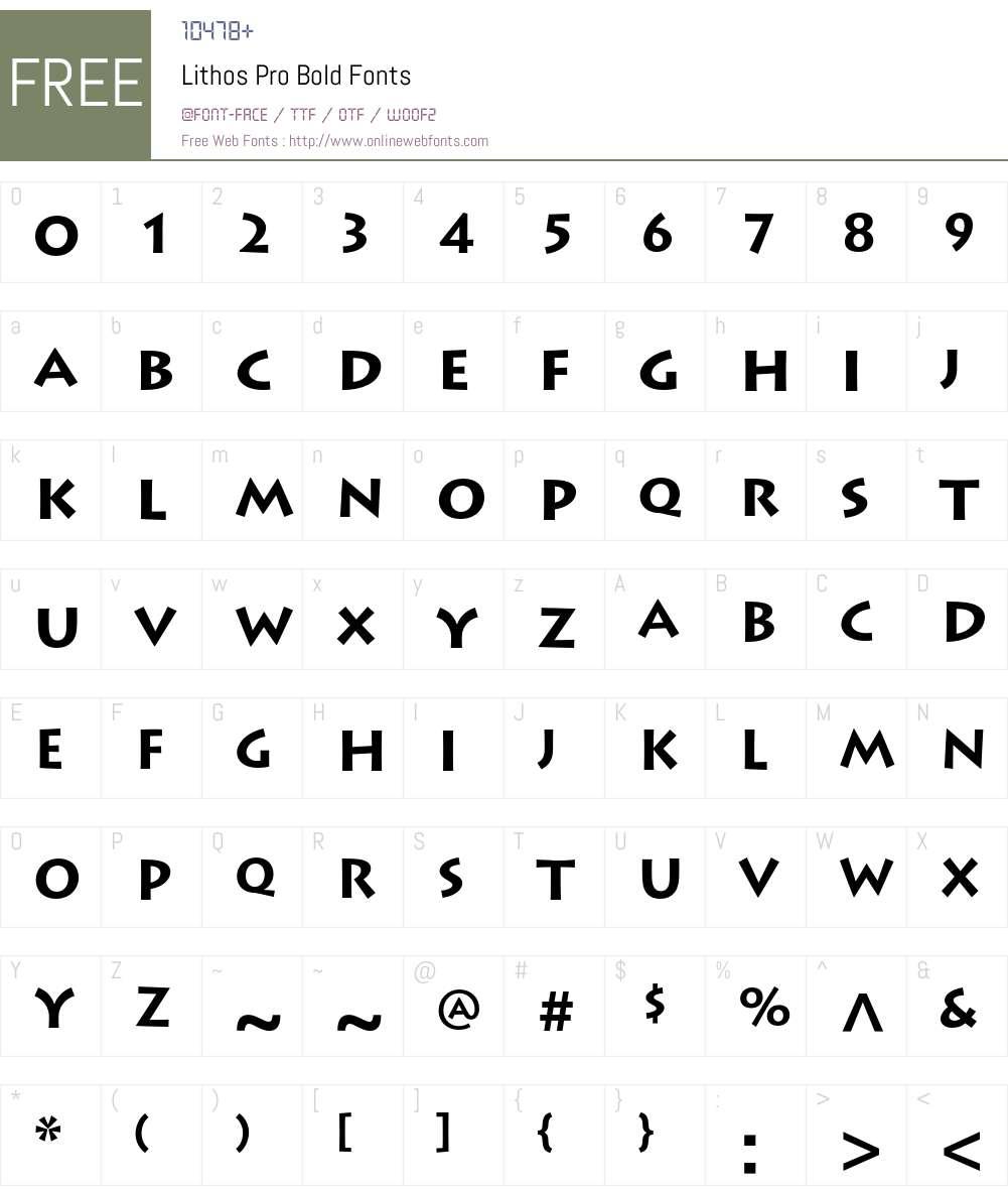Lithos Pro Font Screenshots
