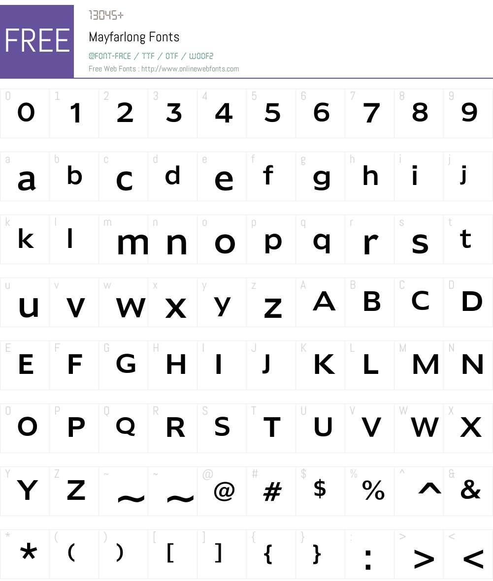 Mayfarlong Font Screenshots