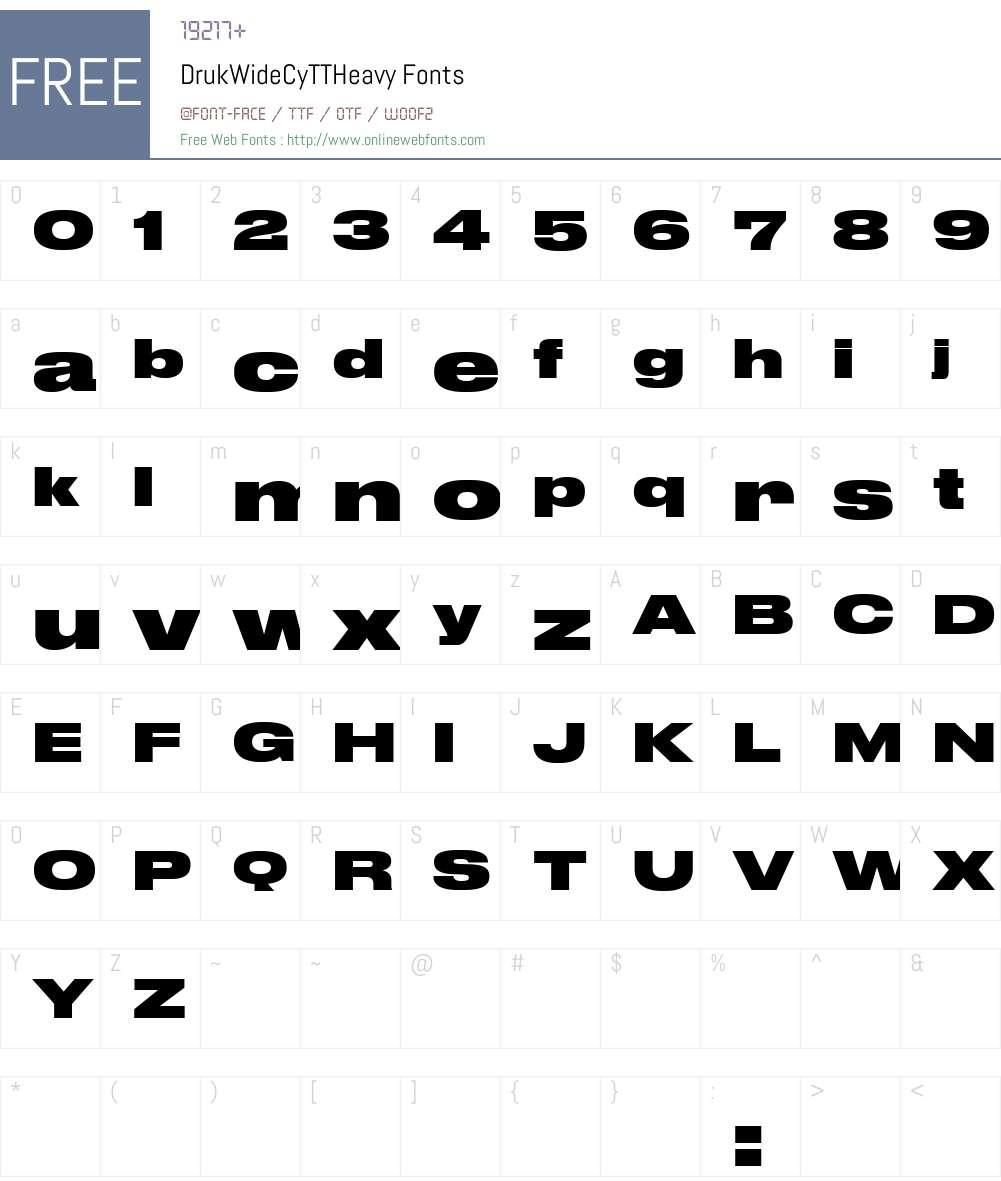 Druk Wide Cy TT Heavy Font Screenshots