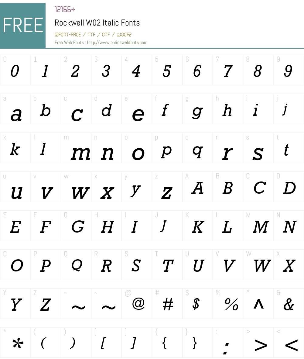RockwellW02-Italic Font Screenshots