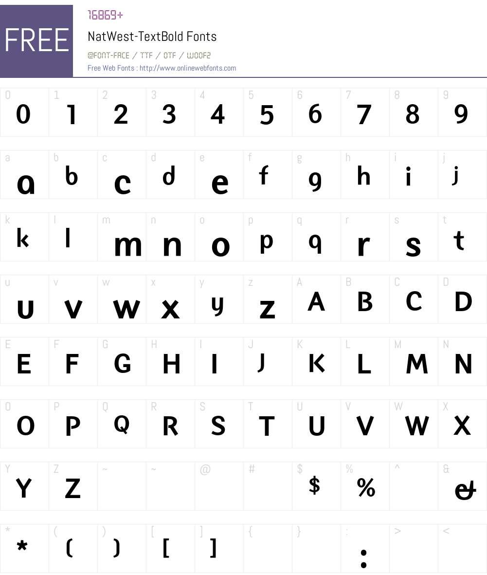 NatWest Font Screenshots