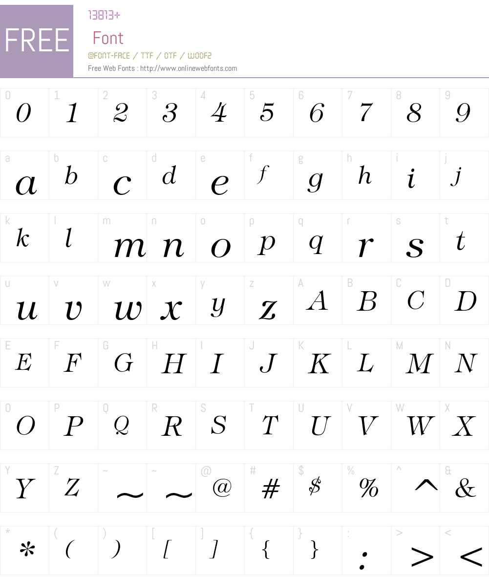 ITC Tiffany Font Screenshots