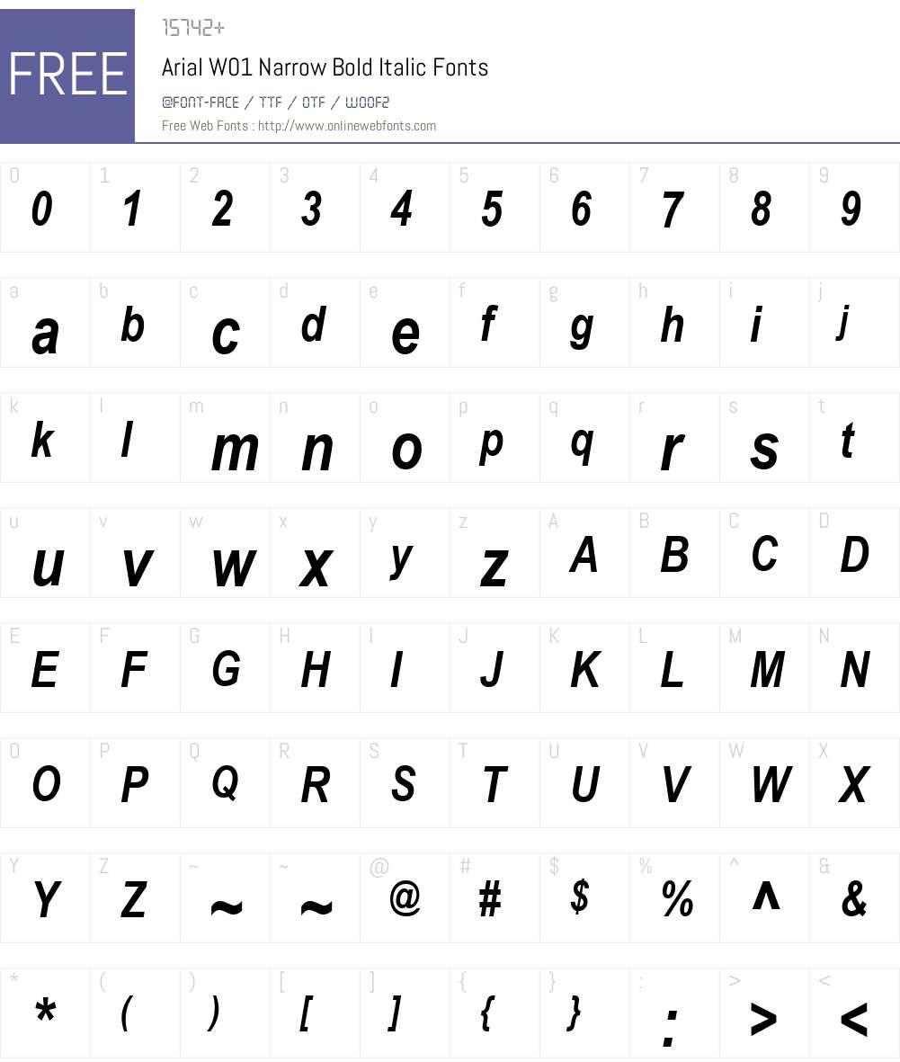 ArialW01-NarrowBoldItalic Font Screenshots