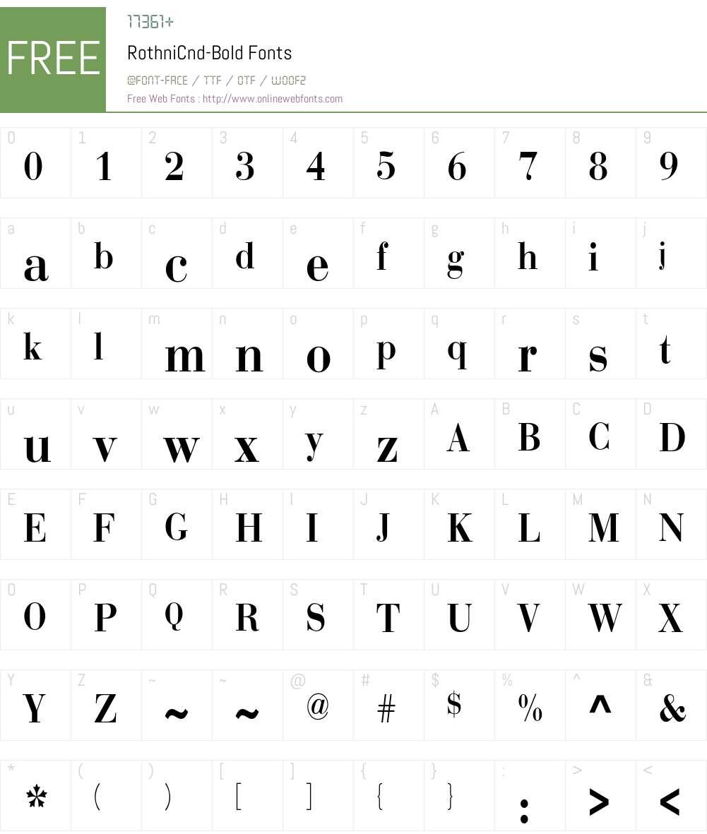 RothniCnd-Bold Font Screenshots