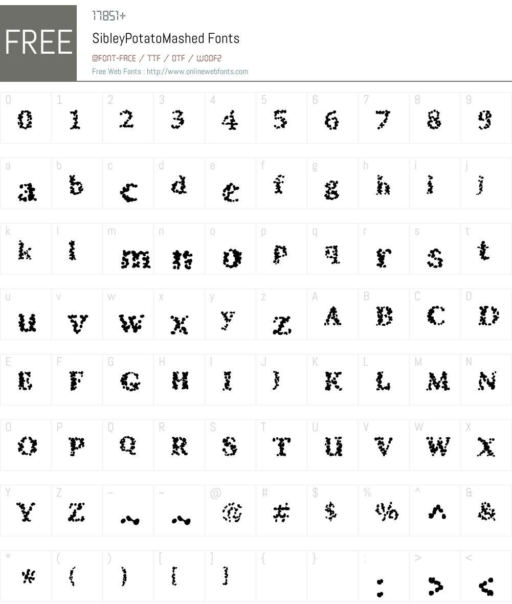 SibleyPotatoMashed Font Screenshots