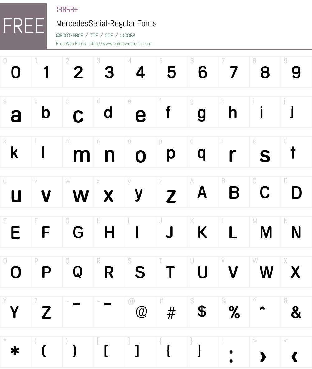 MercedesSerial Font Screenshots
