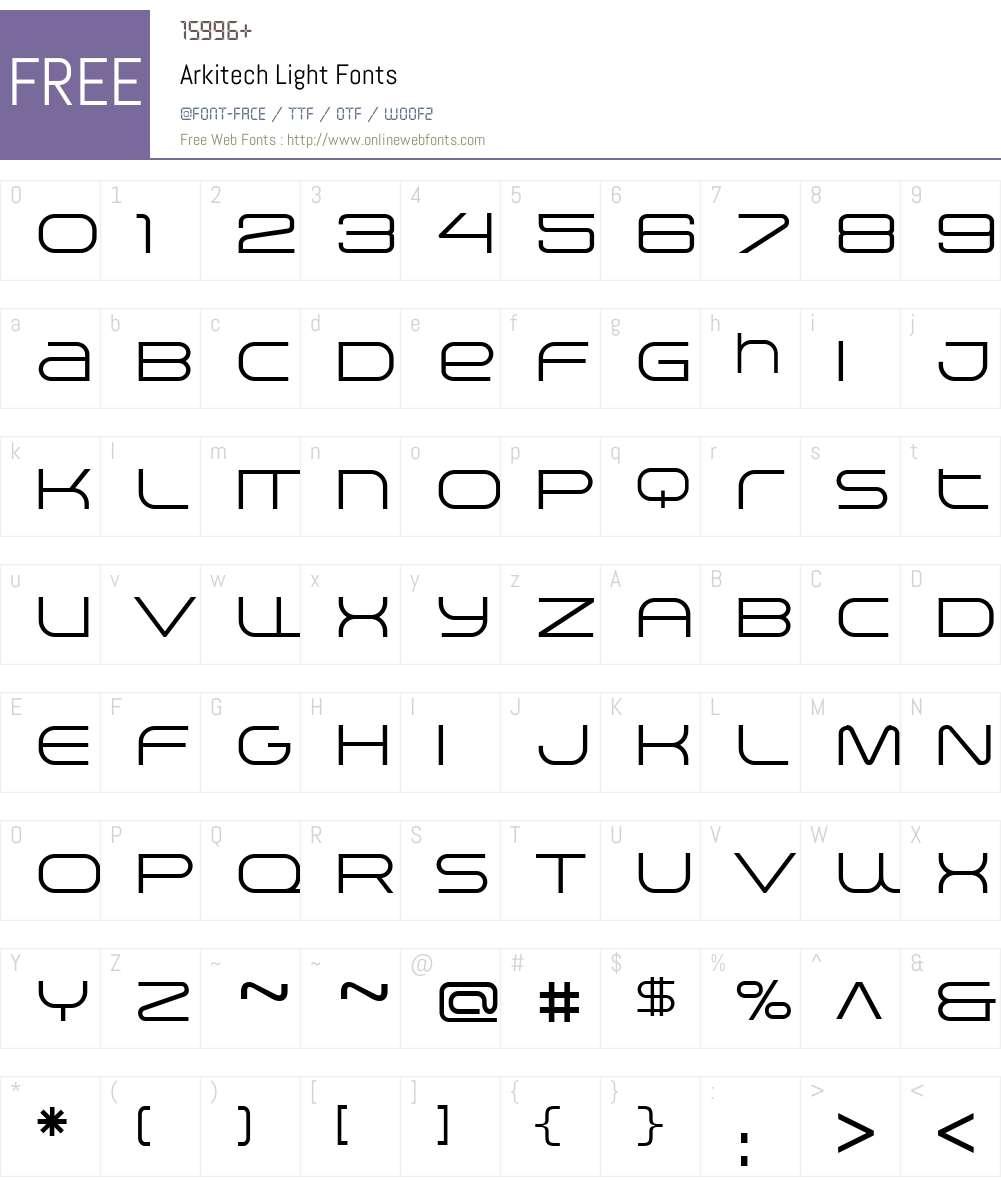 Arkitech Light Font Screenshots