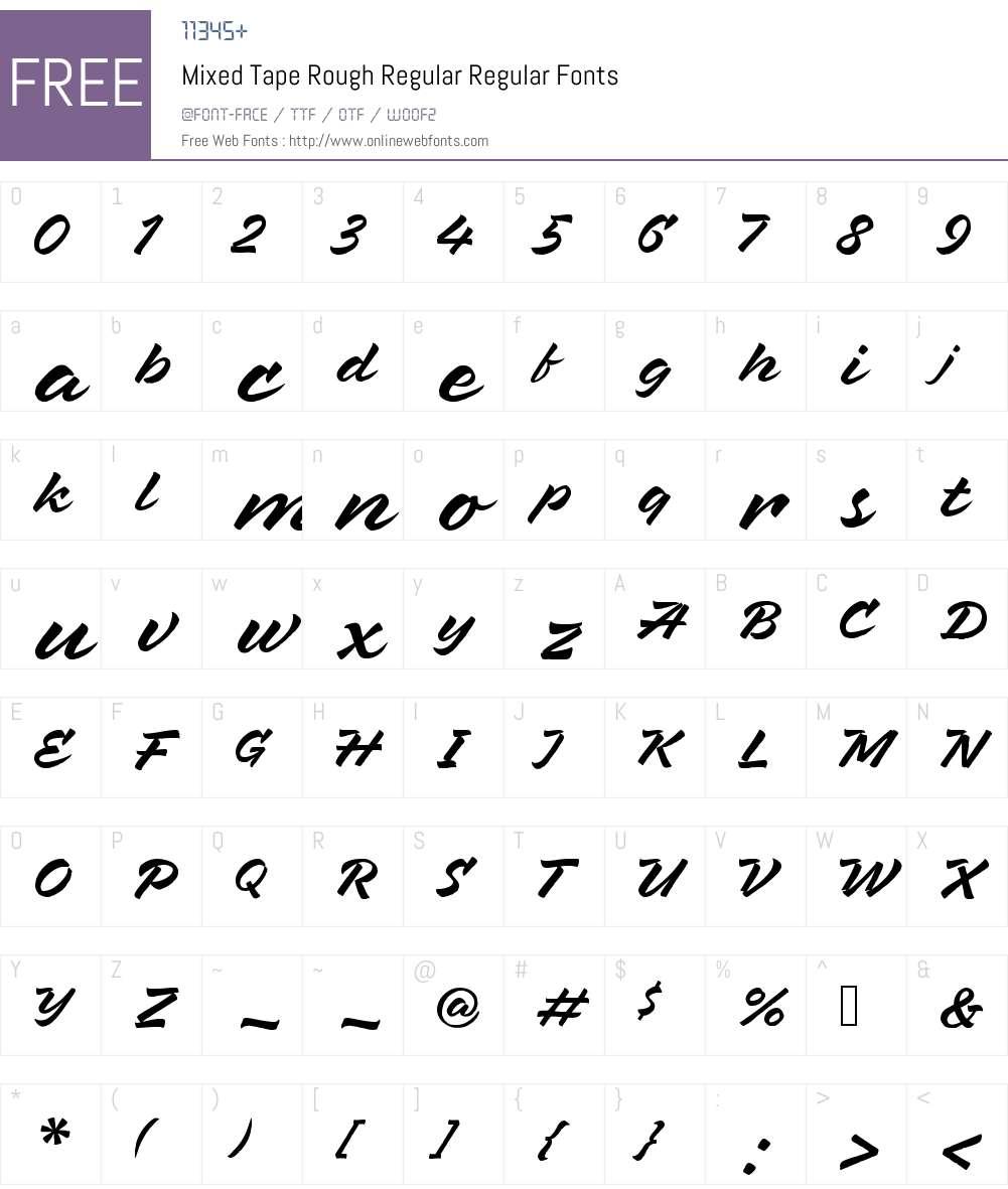 MixedTapeRough-Regular Font Screenshots