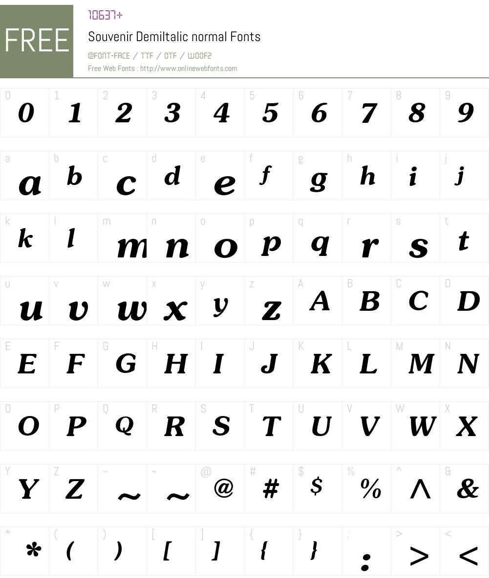 Souvenir-DemiItalic Font Screenshots