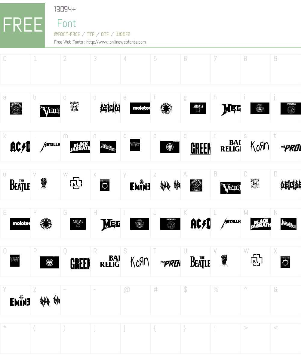 MUSIC LOGOS TFB Font Screenshots