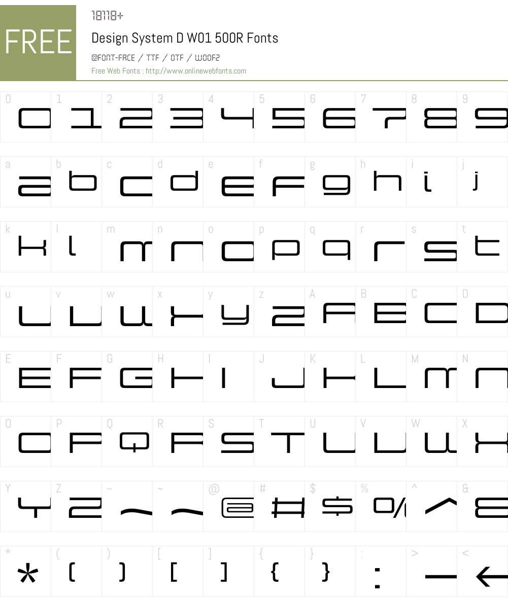 DesignSystemDW01-500R Font Screenshots