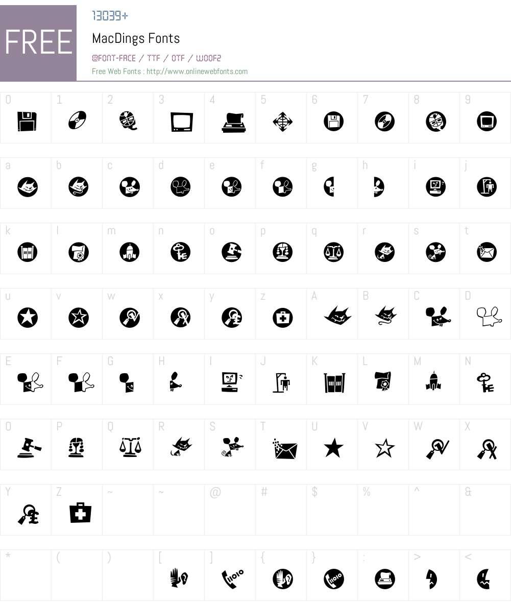MacDings Font Screenshots