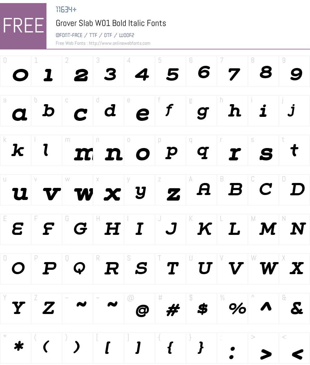 GroverSlabW01-BoldItalic Font Screenshots
