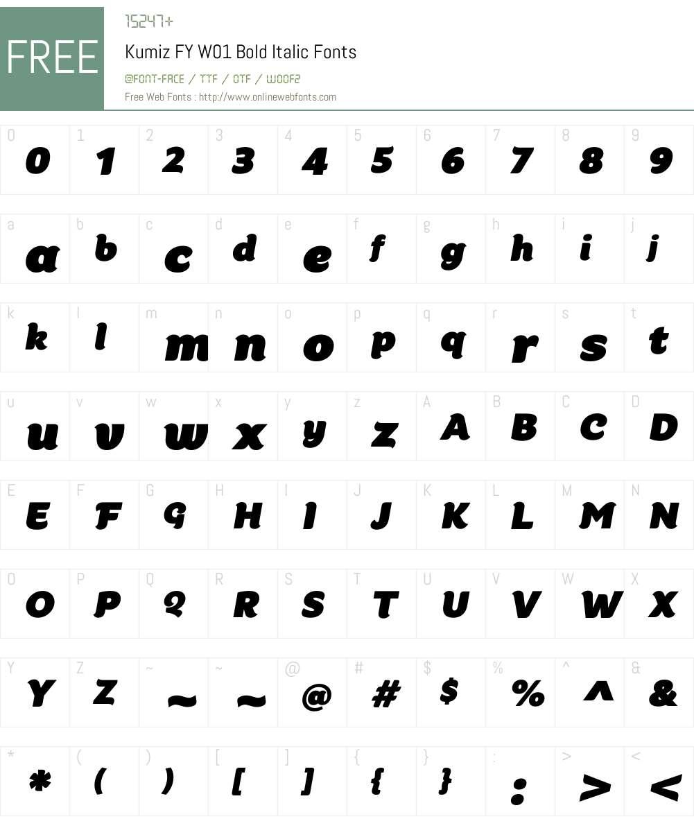 KumizFYW01-BoldItalic Font Screenshots