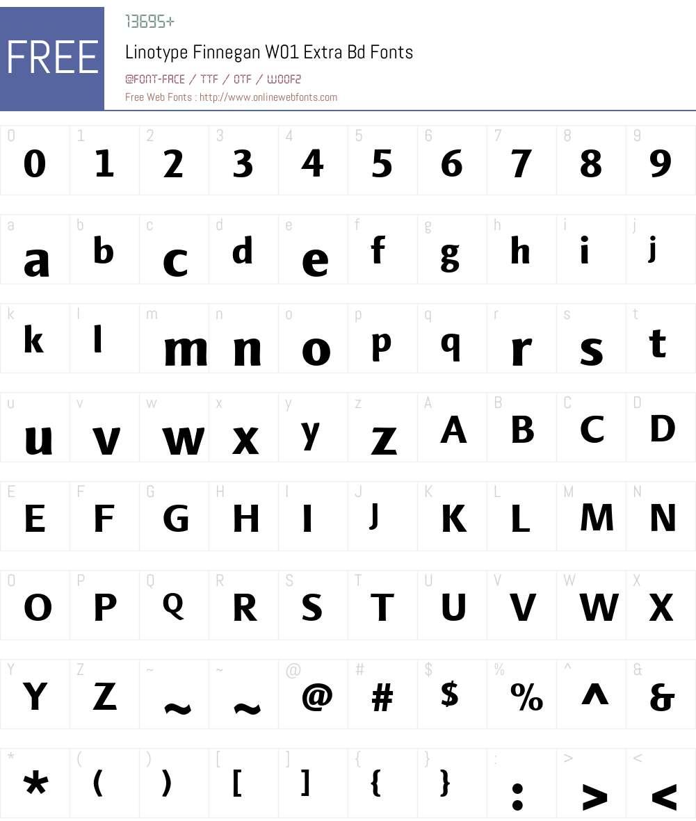 LinotypeFinneganW01-ExtraBd Font Screenshots