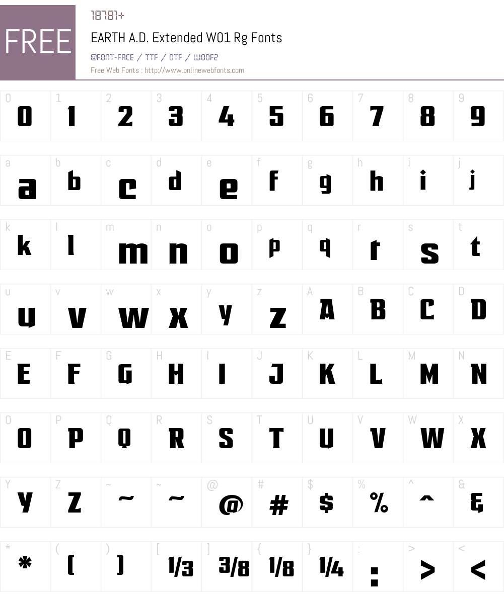 EARTHA.D.ExtendedW01-Rg Font Screenshots