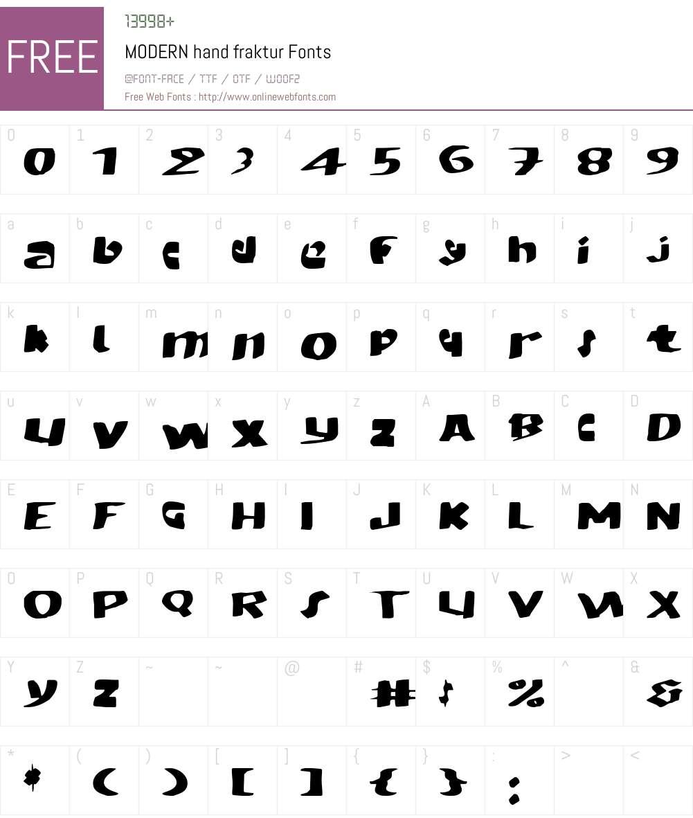 MODERN hand fraktur Font Screenshots
