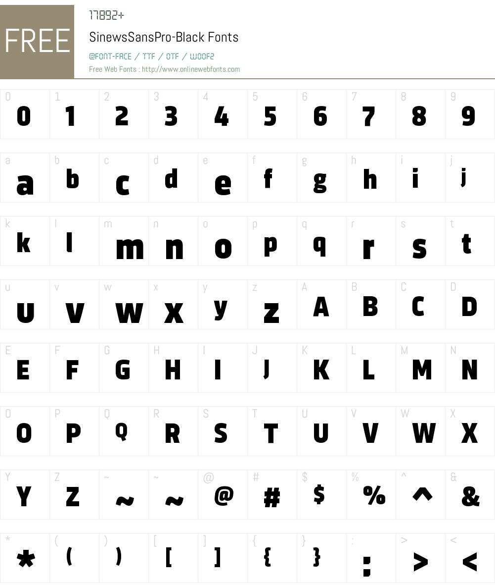 Sinews Sans Pro Black Font Screenshots