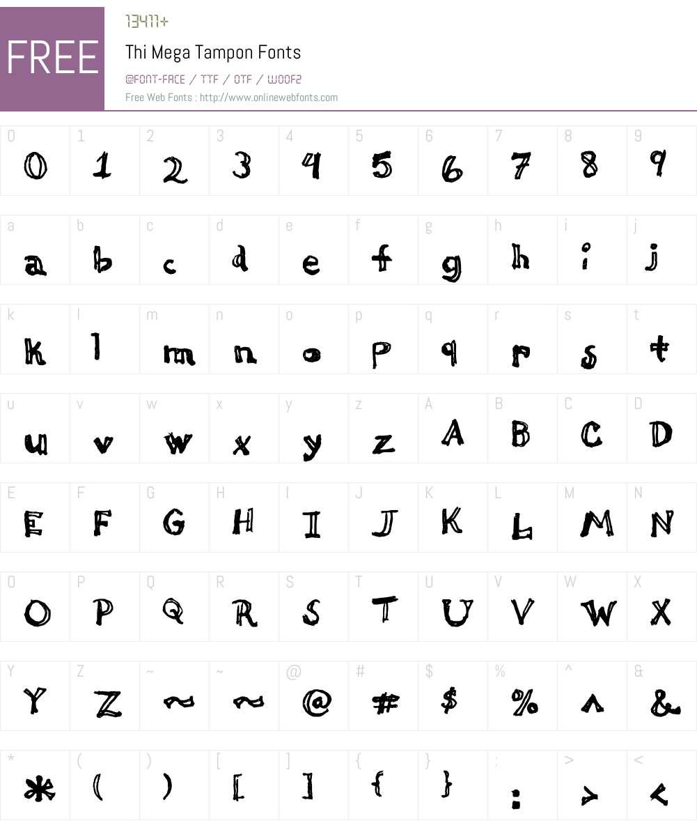 Thi Mega Tampon Font Screenshots