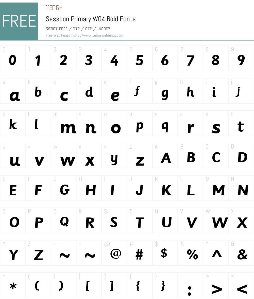 SassoonPrimaryW04-Bold Font Screenshots