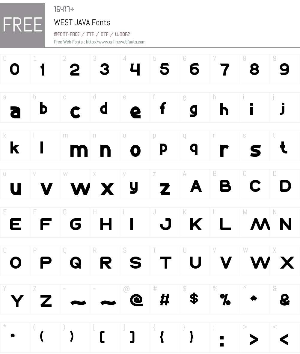WEST JAVA Font Screenshots