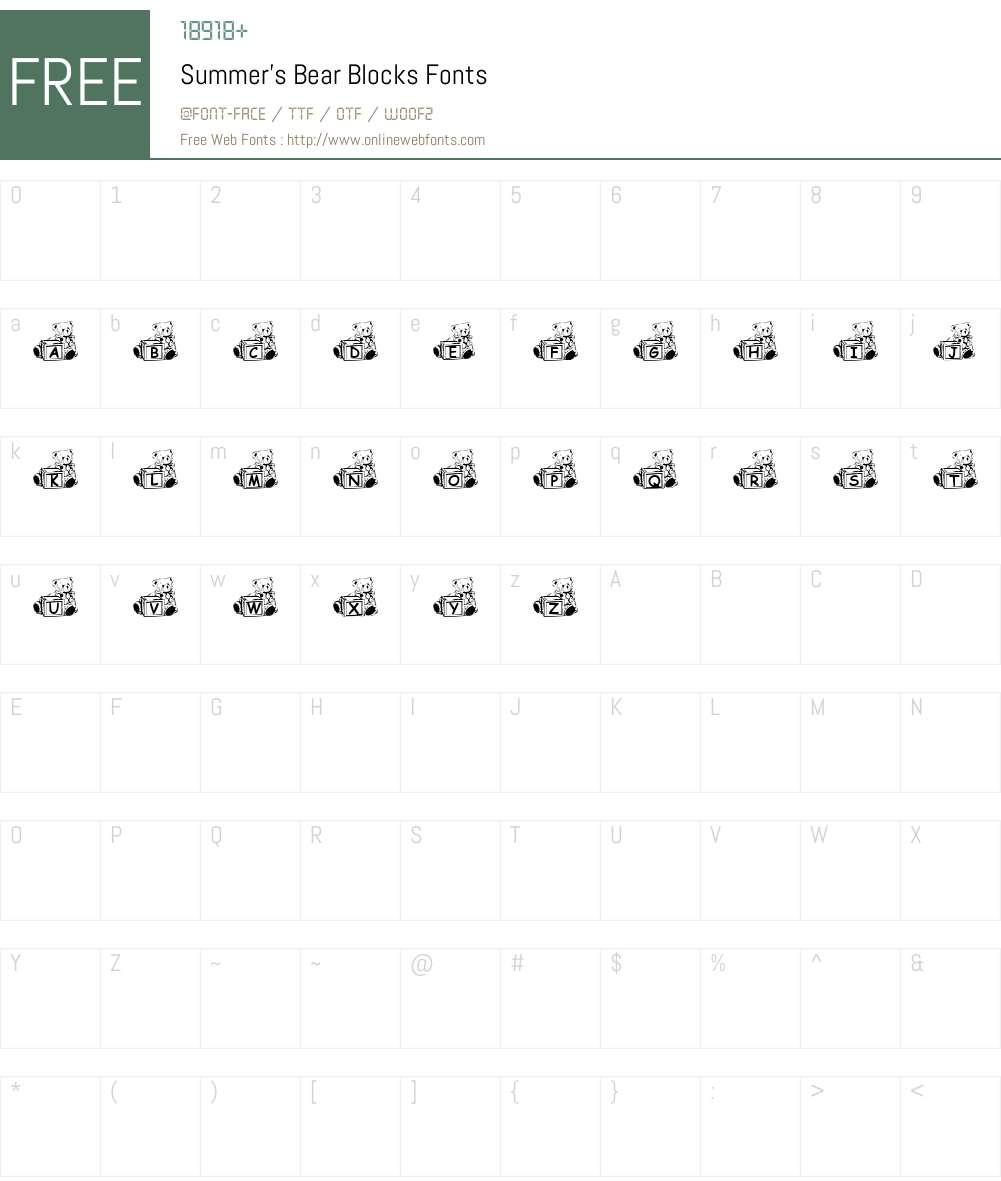 Summer's Bear Blocks Font Screenshots