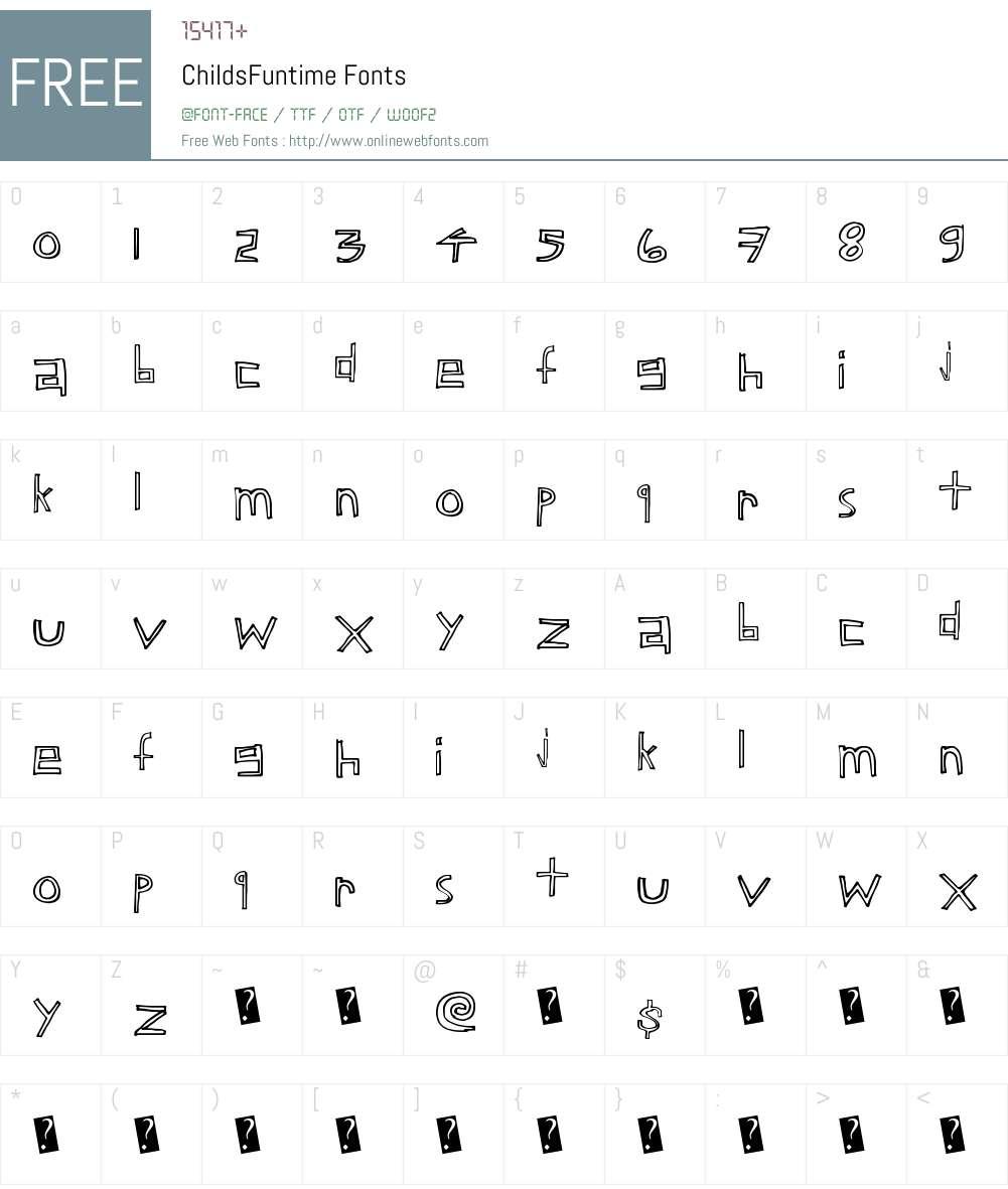ChildsFuntime Font Screenshots