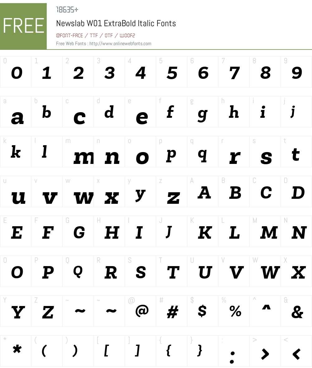 NewslabW01-ExtraBoldItalic Font Screenshots