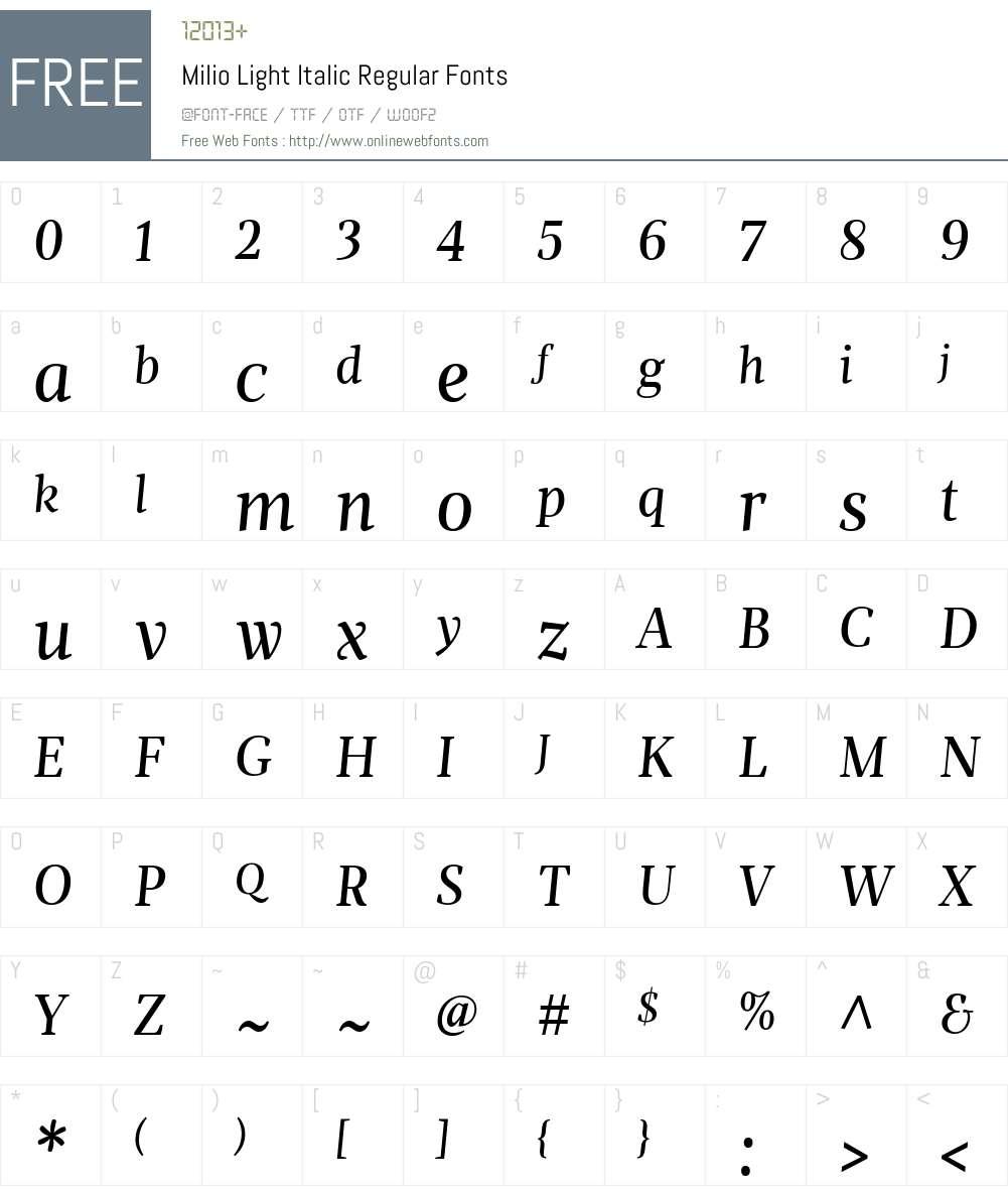 Milio Light Italic Font Screenshots