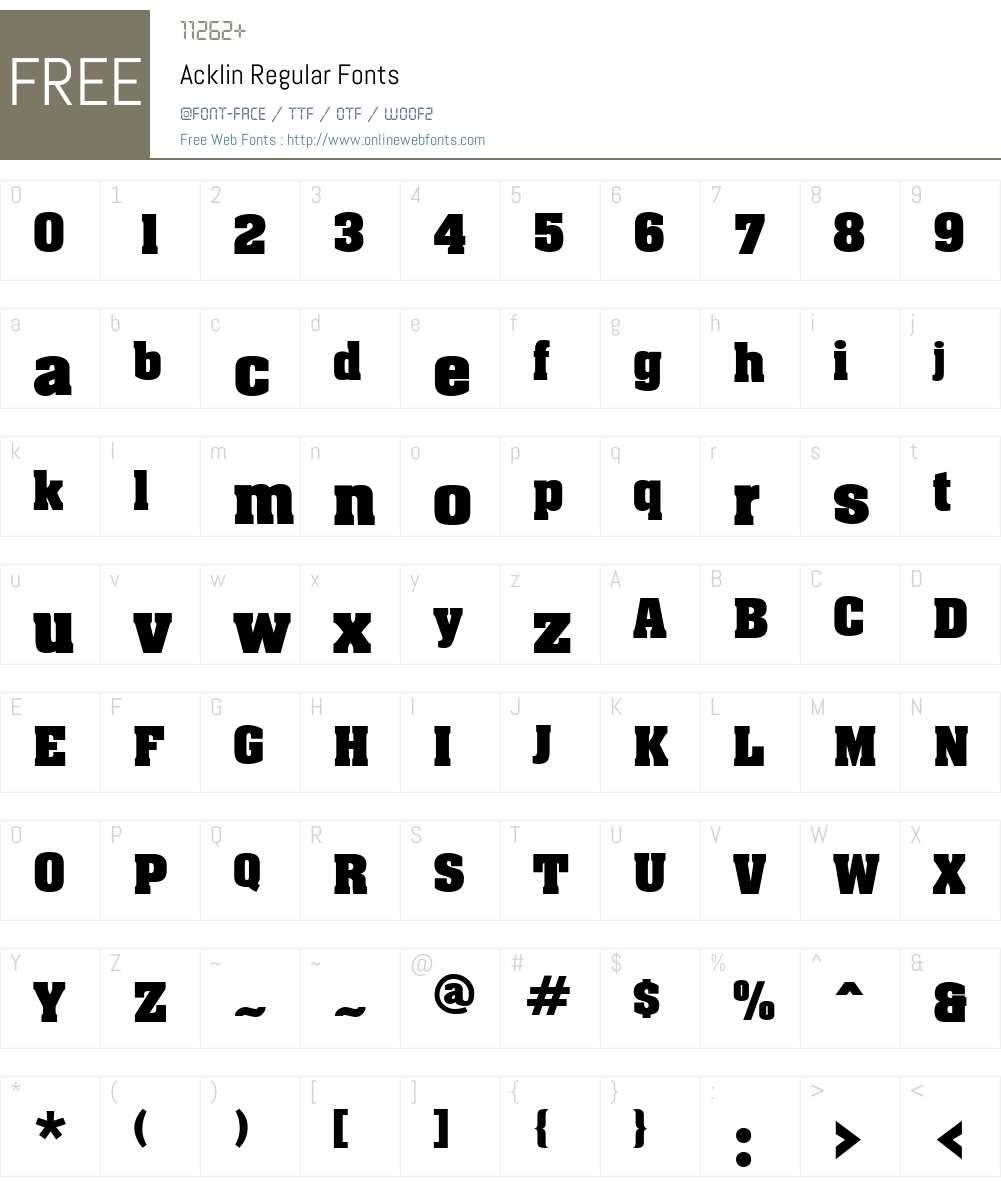 Acklin Font Screenshots