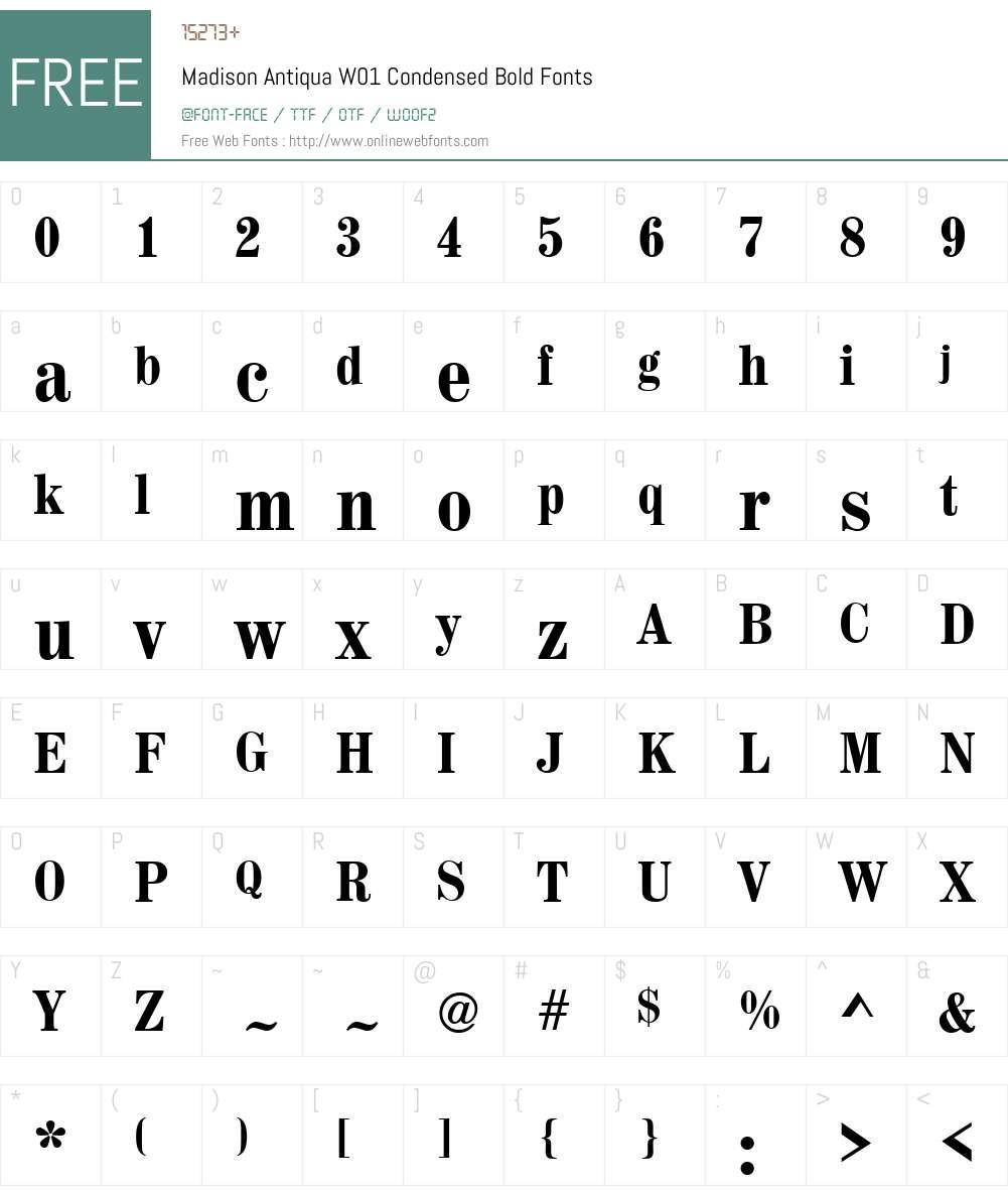 MadisonAntiquaW01-CondensedBold Font Screenshots