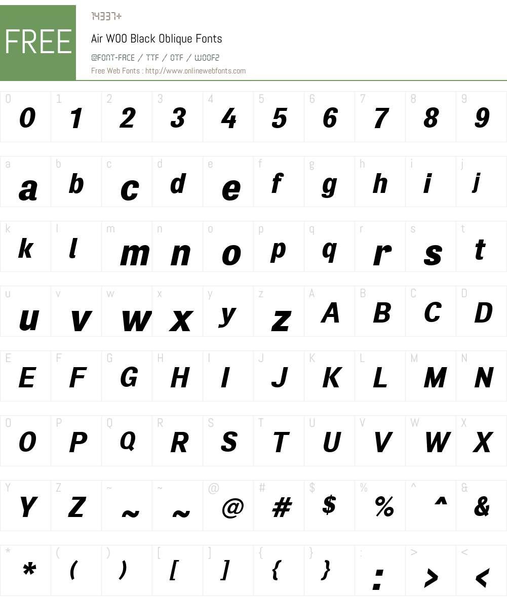 AirW00-BlackOblique Font Screenshots