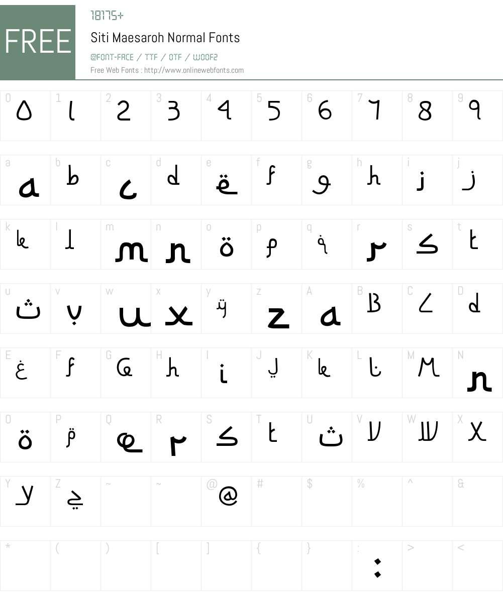 Siti Maesaroh Font Screenshots