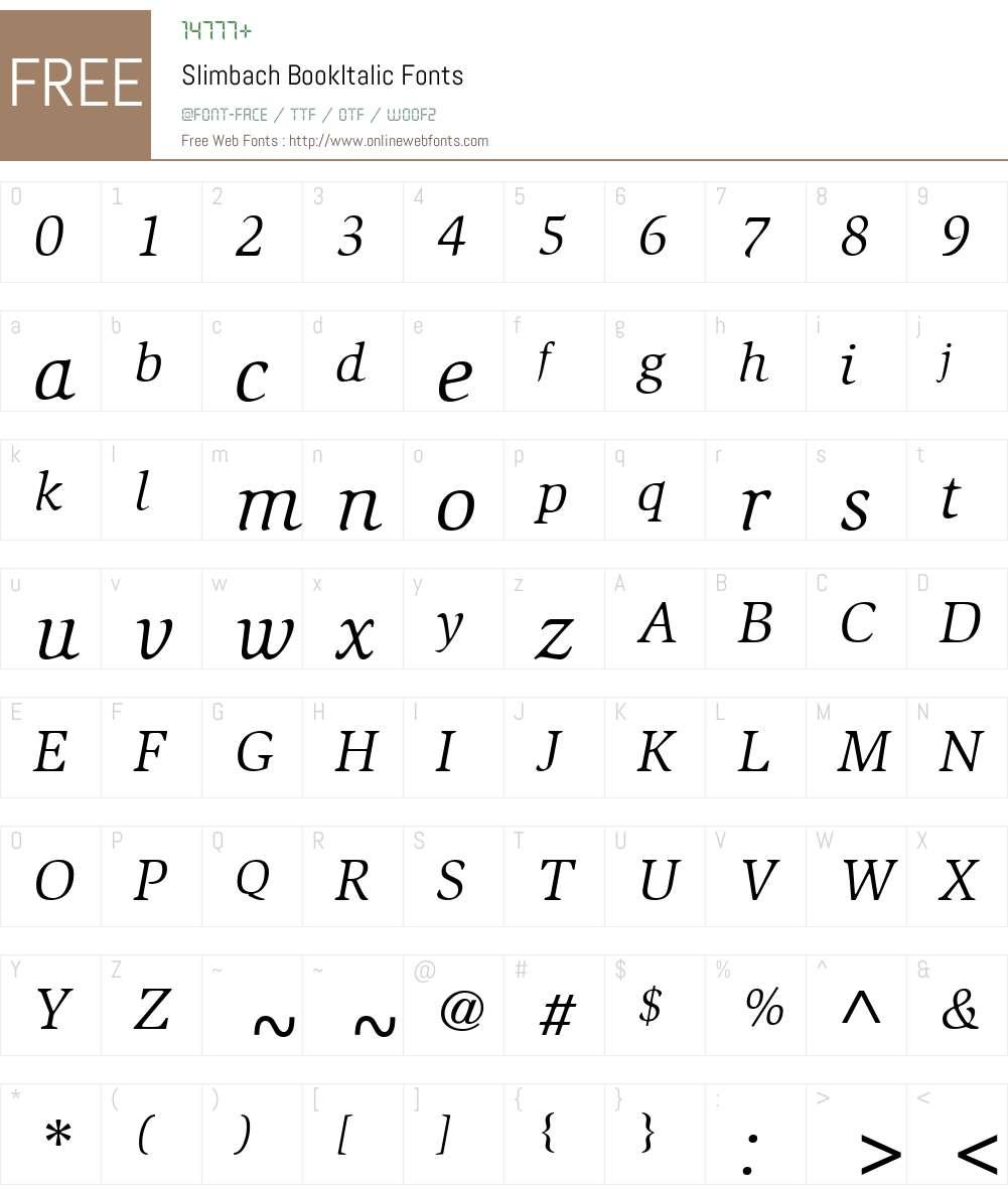 Slimbach Font Screenshots