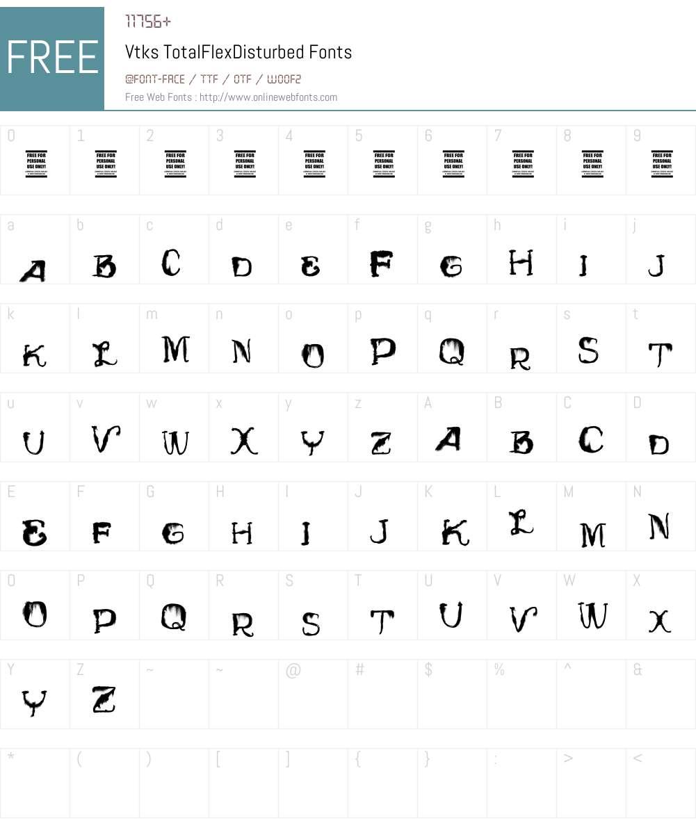 Vtks TotalFlexDisturbed Font Screenshots