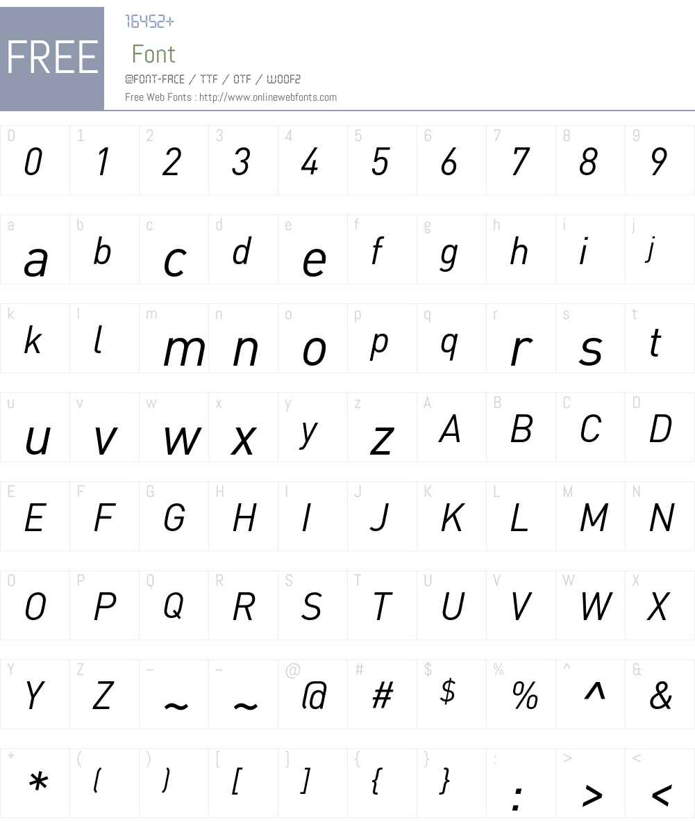 DIN-RegularItalic Font Screenshots