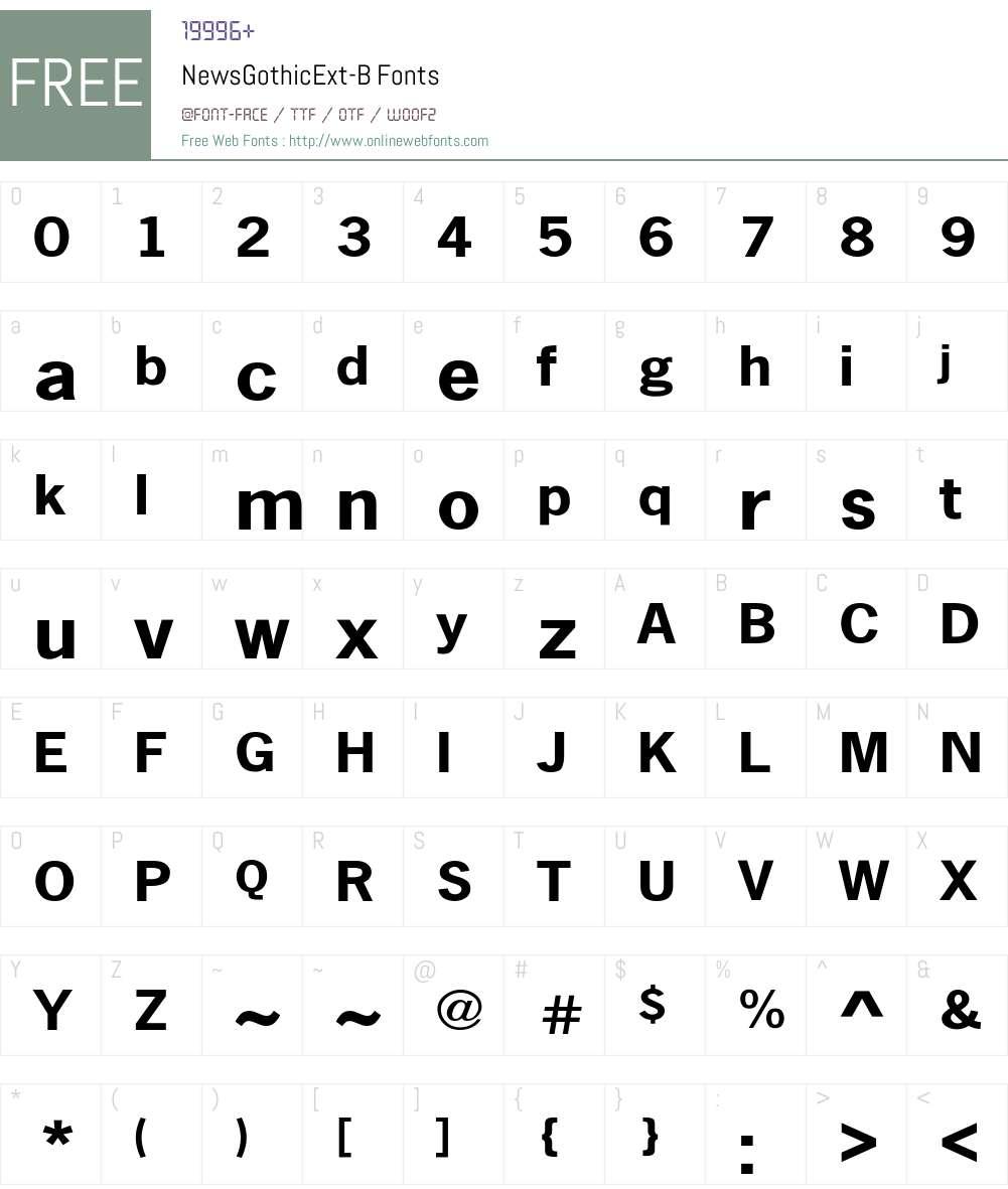 NewsGothicExt-B Font Screenshots
