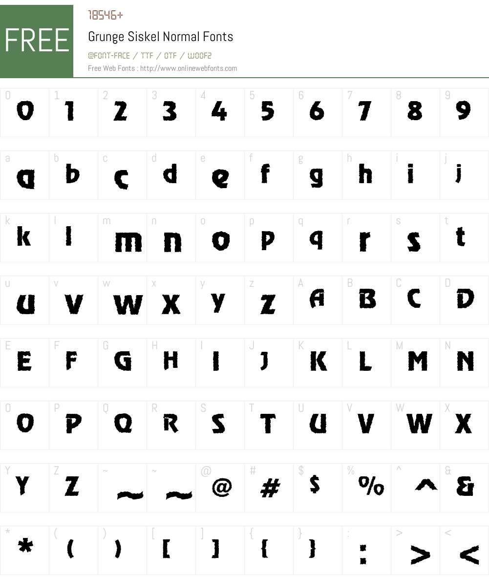 Grunge Siskel Normal Font Screenshots