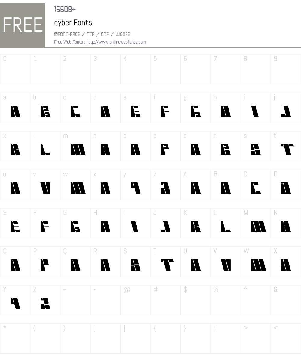 cyber Font Screenshots