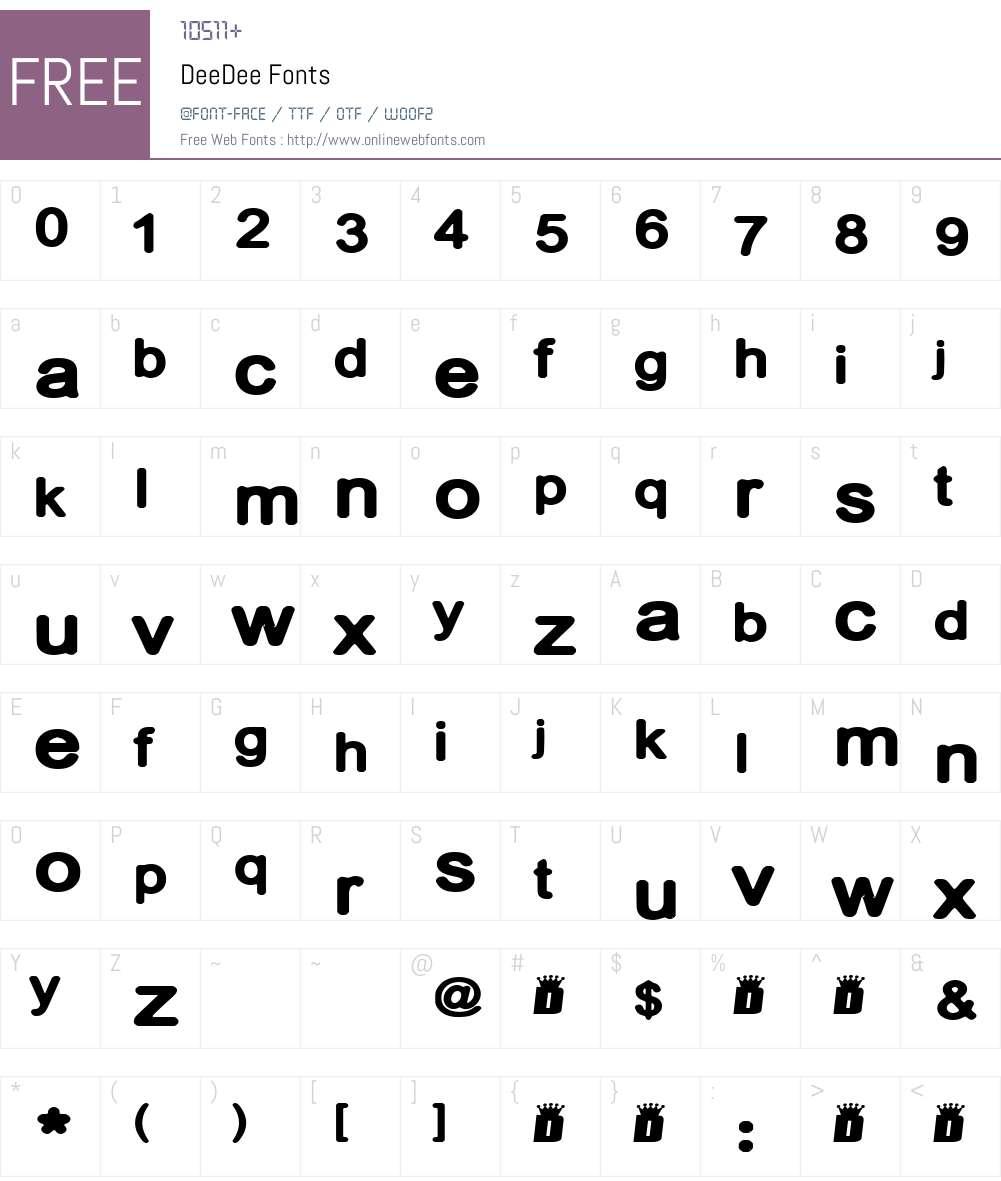 DeeDee Font Screenshots