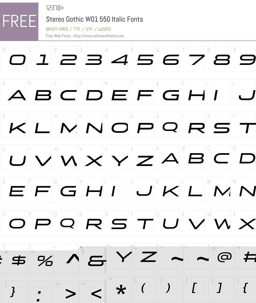 StereoGothicW01-550Italic Font Screenshots