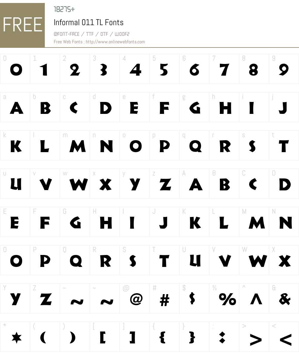 Informal011TL-Roman Font Screenshots