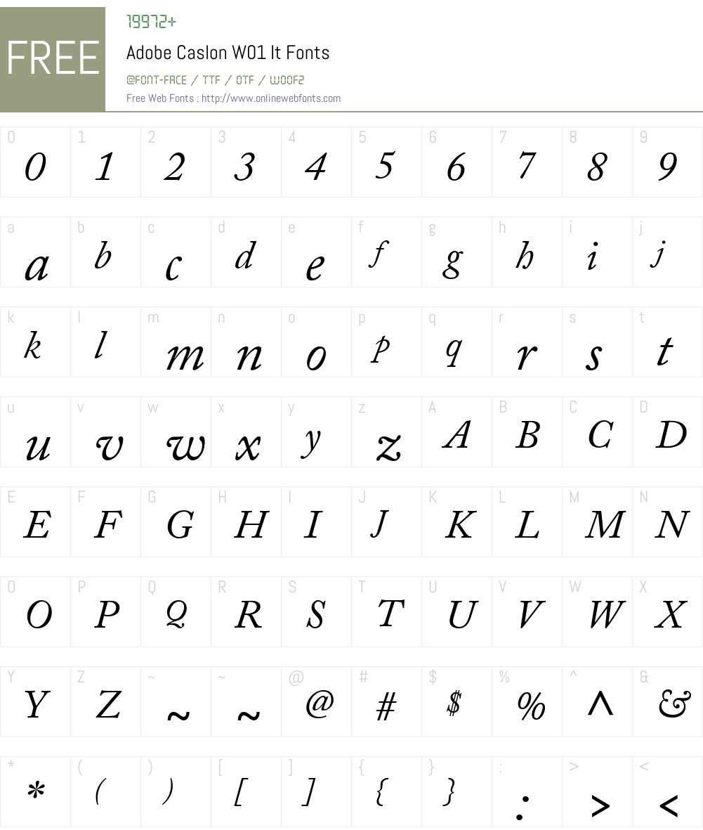 AdobeCaslonW01-It Font Screenshots