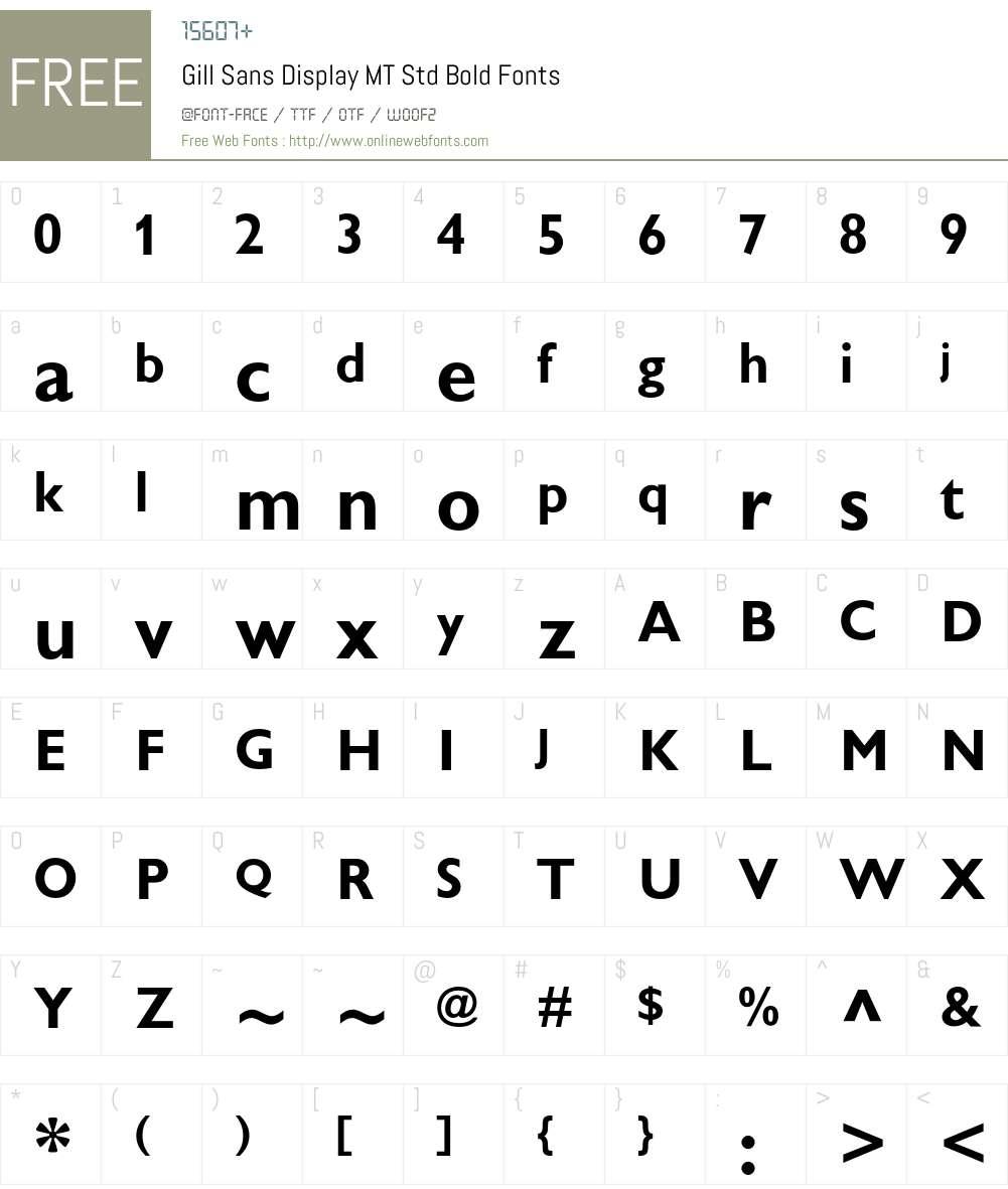Gill Sans Display MT Std Font Screenshots