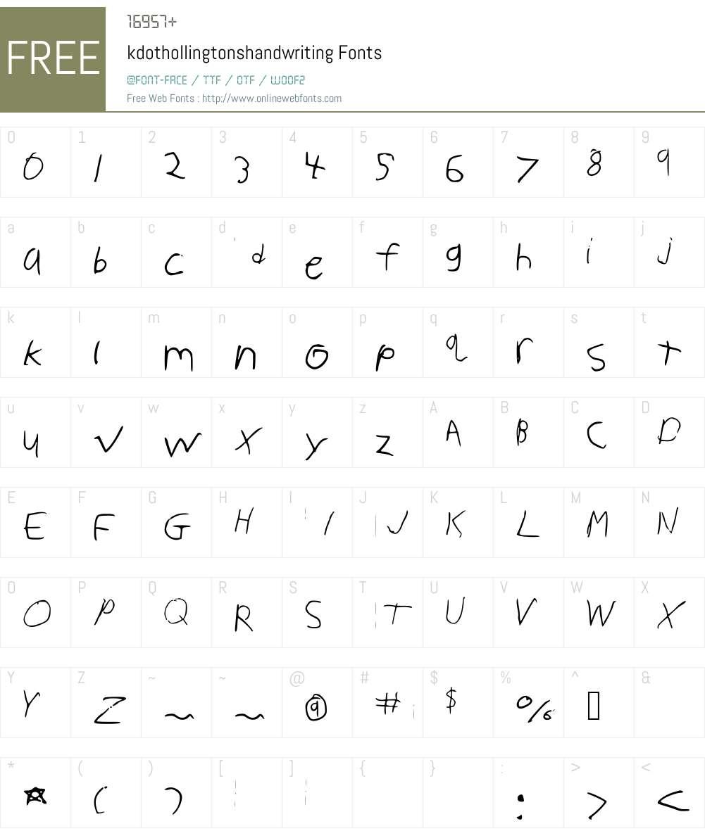 kdothollingtonshandwriting Font Screenshots